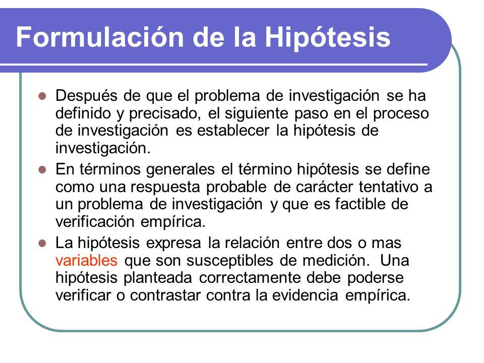 Formulación de la Hipótesis Después de que el problema de investigación se ha definido y precisado, el siguiente paso en el proceso de investigación e