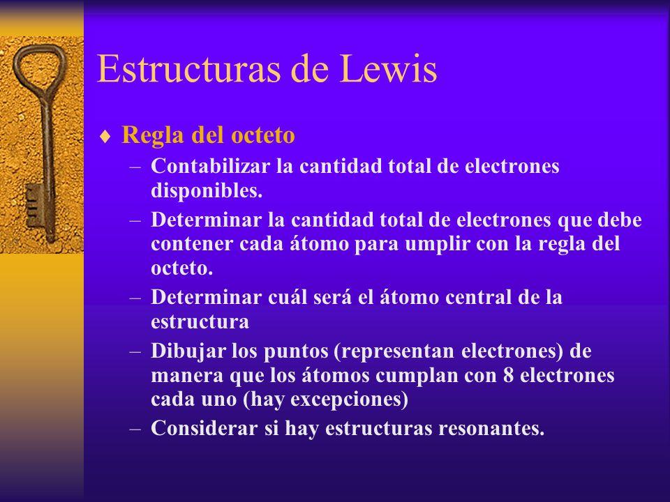 Estructuras de Lewis Regla del octeto –Contabilizar la cantidad total de electrones disponibles. –Determinar la cantidad total de electrones que debe