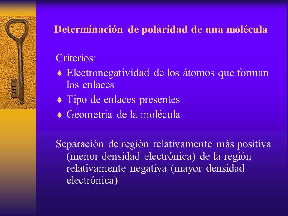 Determinación de polaridad de una molécula Criterios: Electronegatividad de los átomos que forman los enlaces Tipo de enlaces presentes Geometría de l