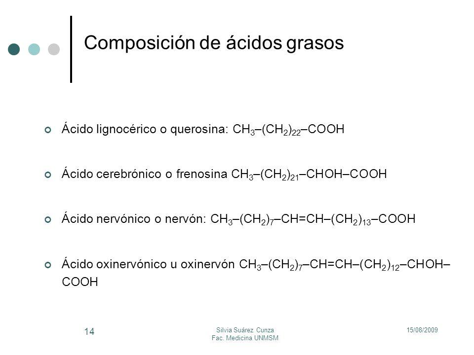 15/08/2009Silvia Suárez Cunza Fac. Medicina UNMSM 14 Composición de ácidos grasos Ácido lignocérico o querosina: CH 3 –(CH 2 ) 22 –COOH Ácido cerebrón
