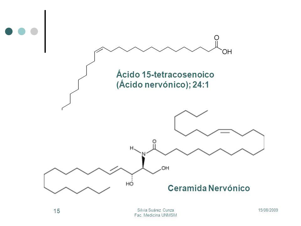 15/08/2009Silvia Suárez Cunza Fac. Medicina UNMSM 15 Ácido 15-tetracosenoico (Ácido nervónico); 24:1 Ceramida Nervónico