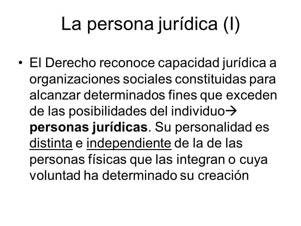 La persona jurídica (I) El Derecho reconoce capacidad jurídica a organizaciones sociales constituidas para alcanzar determinados fines que exceden de