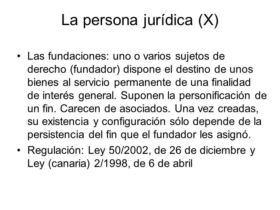 La persona jurídica (X) Las fundaciones: uno o varios sujetos de derecho (fundador) dispone el destino de unos bienes al servicio permanente de una fi