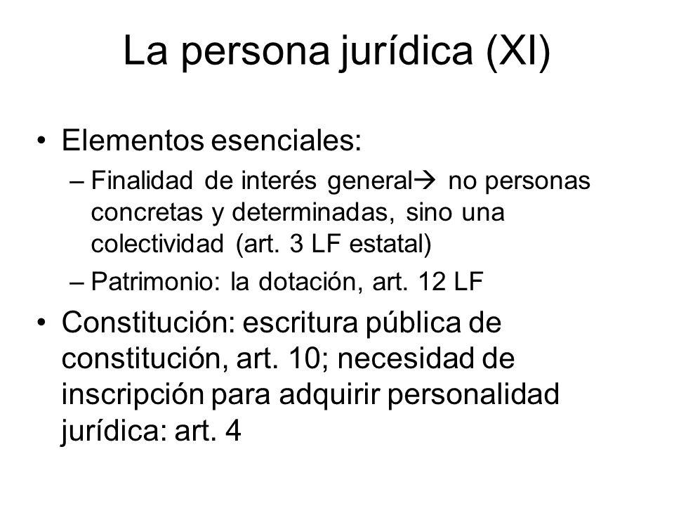 La persona jurídica (XI) Elementos esenciales: –Finalidad de interés general no personas concretas y determinadas, sino una colectividad (art. 3 LF es