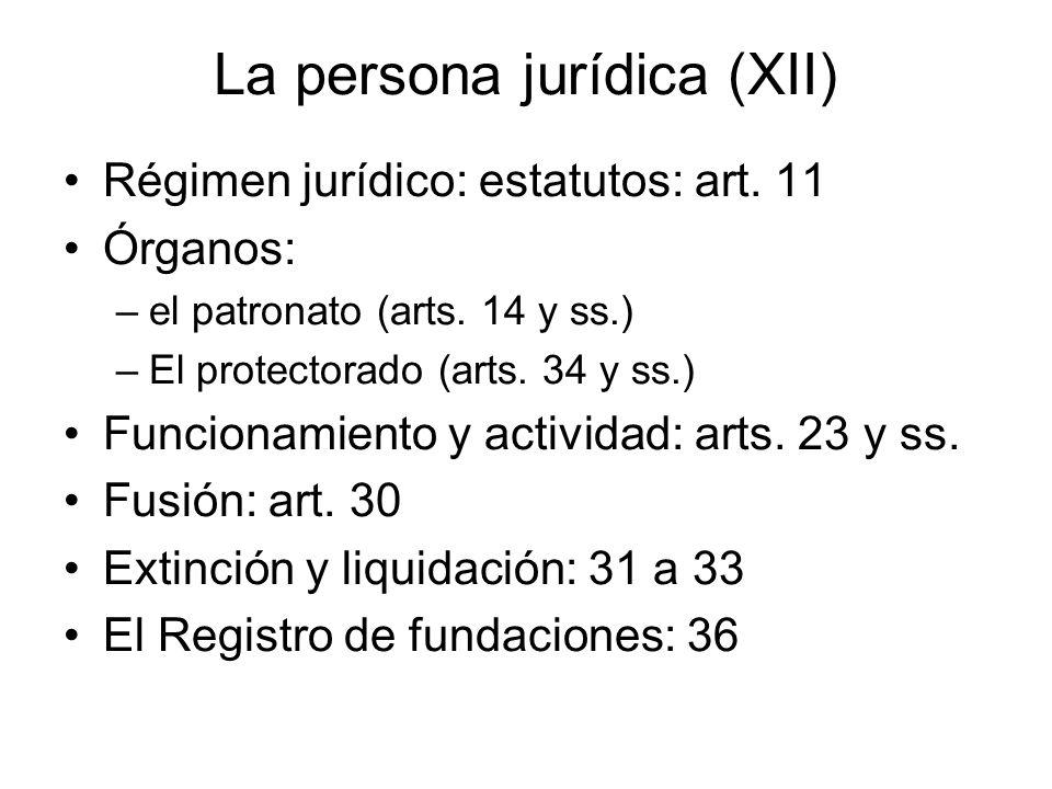 La persona jurídica (XII) Régimen jurídico: estatutos: art. 11 Órganos: –el patronato (arts. 14 y ss.) –El protectorado (arts. 34 y ss.) Funcionamient
