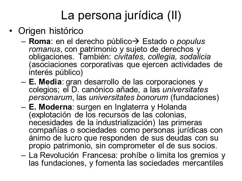 La persona jurídica (II) Origen histórico –Roma: en el derecho público Estado o populus romanus, con patrimonio y sujeto de derechos y obligaciones. T