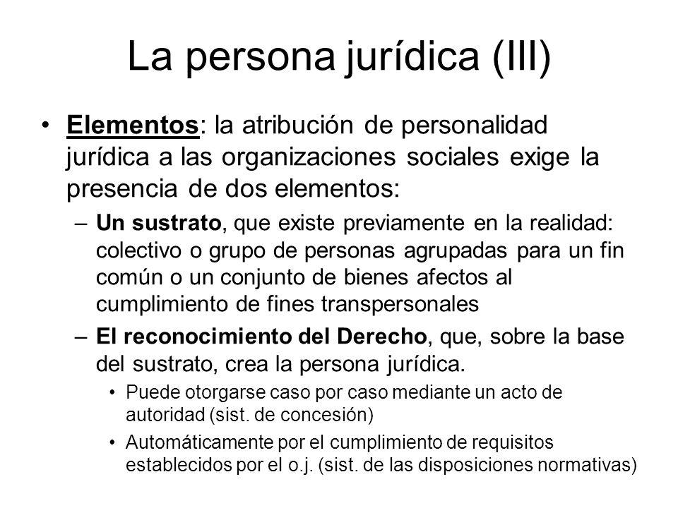 La persona jurídica (III) Elementos: la atribución de personalidad jurídica a las organizaciones sociales exige la presencia de dos elementos: –Un sus