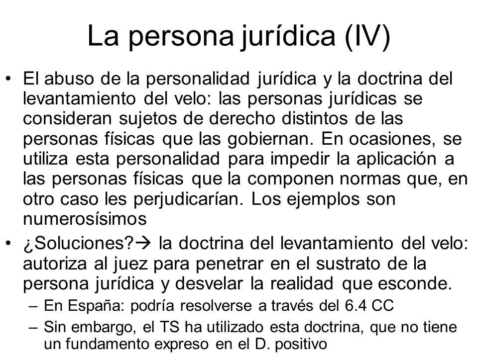La persona jurídica (IV) El abuso de la personalidad jurídica y la doctrina del levantamiento del velo: las personas jurídicas se consideran sujetos d