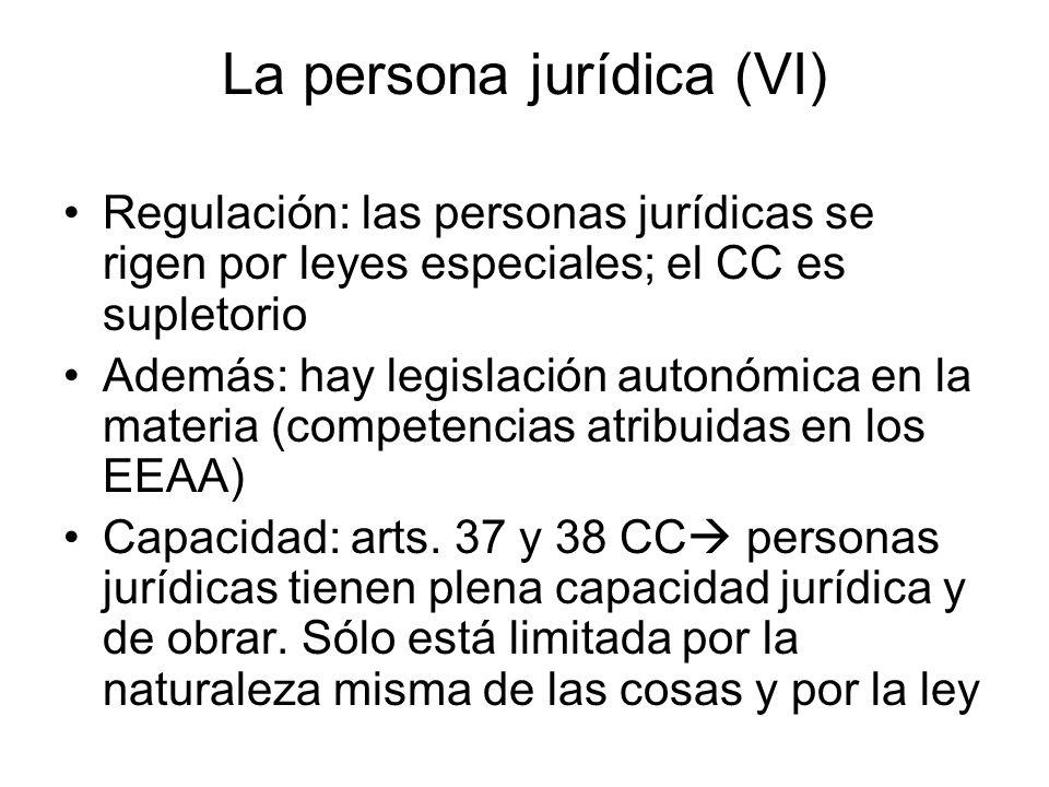 La persona jurídica (VI) Regulación: las personas jurídicas se rigen por leyes especiales; el CC es supletorio Además: hay legislación autonómica en l