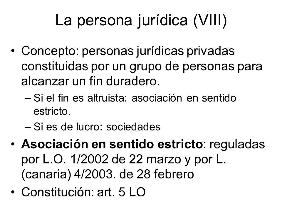 La persona jurídica (VIII) Concepto: personas jurídicas privadas constituidas por un grupo de personas para alcanzar un fin duradero. –Si el fin es al