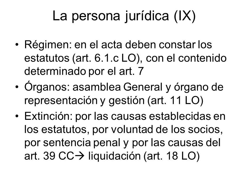 La persona jurídica (IX) Régimen: en el acta deben constar los estatutos (art. 6.1.c LO), con el contenido determinado por el art. 7 Órganos: asamblea