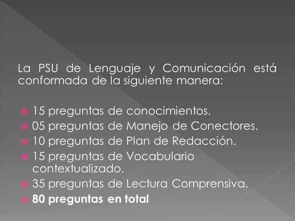 La PSU de Lenguaje y Comunicación está conformada de la siguiente manera: 15 preguntas de conocimientos. 05 preguntas de Manejo de Conectores. 10 preg