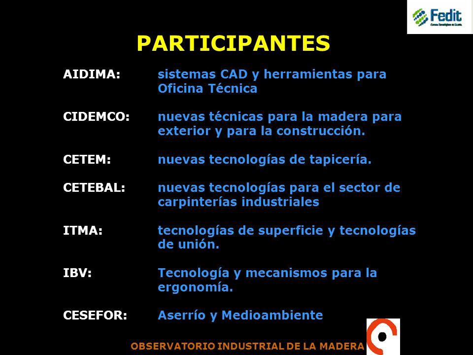 OBSERVATORIO INDUSTRIAL DE LA MADERA PARTICIPANTES AIDIMA: sistemas CAD y herramientas para Oficina Técnica CIDEMCO: nuevas técnicas para la madera pa