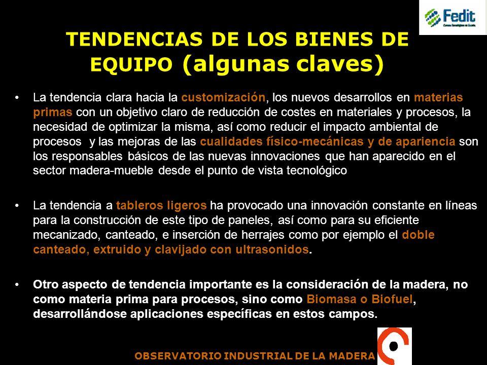 OBSERVATORIO INDUSTRIAL DE LA MADERA TENDENCIAS DE LOS BIENES DE EQUIPO (algunas claves) La tendencia clara hacia la customización, los nuevos desarro