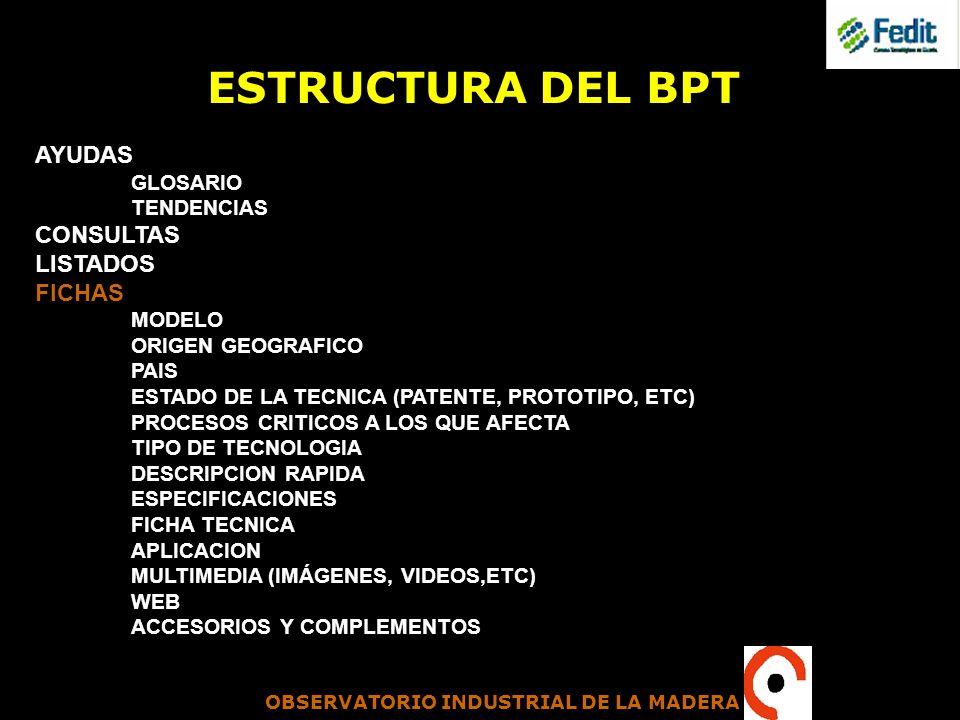 OBSERVATORIO INDUSTRIAL DE LA MADERA ESTRUCTURA DEL BPT AYUDAS GLOSARIO TENDENCIAS CONSULTAS LISTADOS FICHAS MODELO ORIGEN GEOGRAFICO PAIS ESTADO DE L