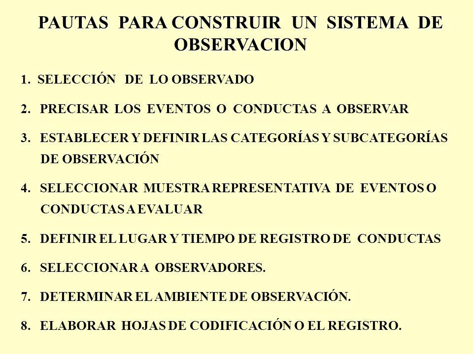 PAUTAS PARA CONSTRUIR UN SISTEMA DE OBSERVACION 1.