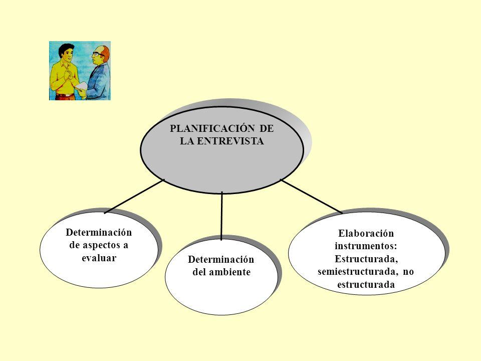 PLANIFICACIÓN DE LA ENTREVISTA Determinación de aspectos a evaluar Determinación del ambiente Elaboración instrumentos: Estructurada, semiestructurada, no estructurada