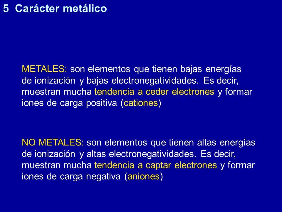 METALES: son elementos que tienen bajas energías de ionización y bajas electronegatividades. Es decir, muestran mucha tendencia a ceder electrones y f