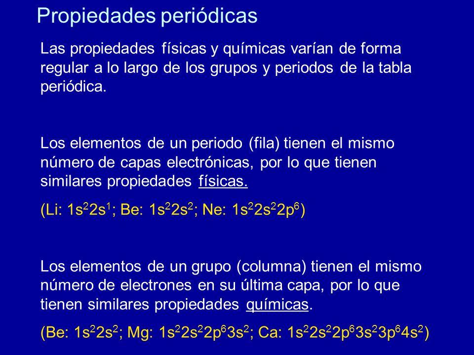 Propiedades periódicas Las propiedades físicas y químicas varían de forma regular a lo largo de los grupos y periodos de la tabla periódica. Los eleme