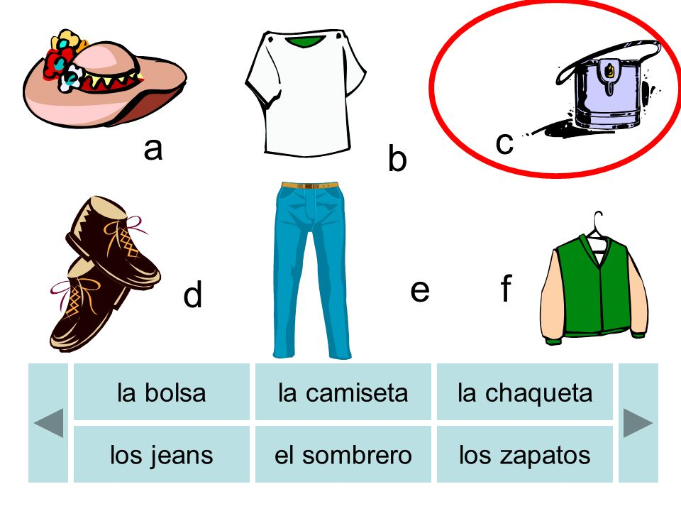 a c d e b f la bolsala camisetala chaqueta los jeansel sombrerolos zapatos