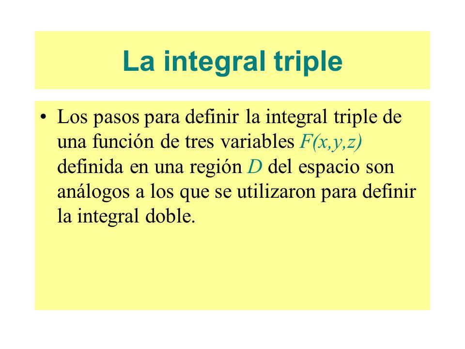 La integral triple Los pasos para definir la integral triple de una función de tres variables F(x,y,z) definida en una región D del espacio son análog