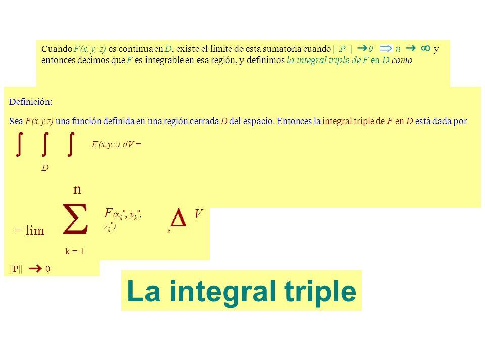 Cuando F(x, y, z) es continua en D, existe el límite de esta sumatoria cuando || P || 0 n y entonces decimos que F es integrable en esa región, y defi