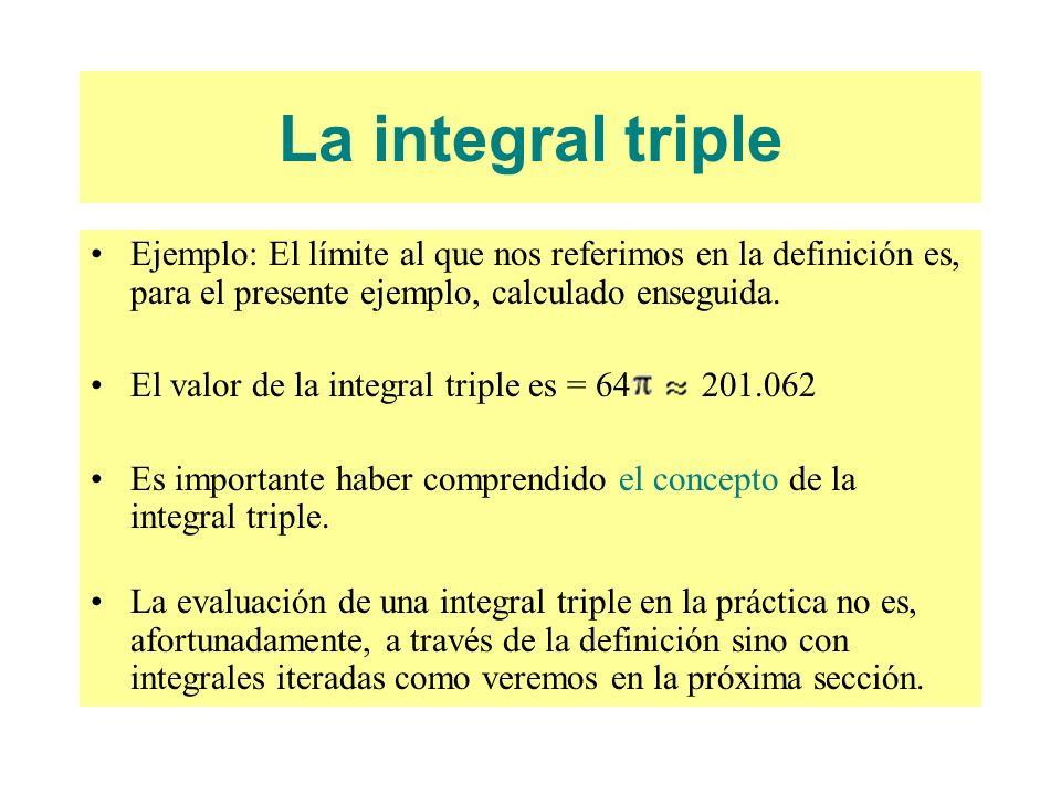 Ejemplo: El límite al que nos referimos en la definición es, para el presente ejemplo, calculado enseguida. El valor de la integral triple es = 64 201