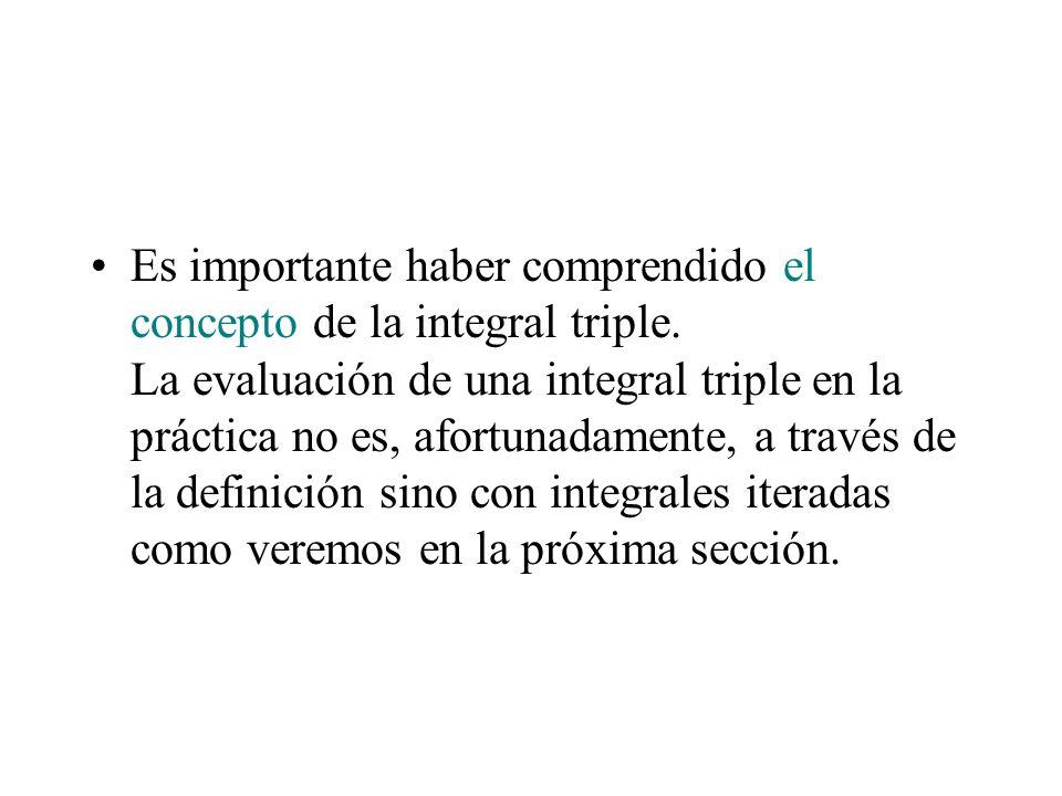 Es importante haber comprendido el concepto de la integral triple. La evaluación de una integral triple en la práctica no es, afortunadamente, a travé