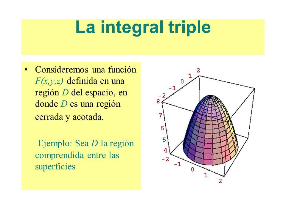 La integral triple Consideremos una función F(x,y,z) definida en una región D del espacio, en donde D es una región cerrada y acotada. Ejemplo: Sea D
