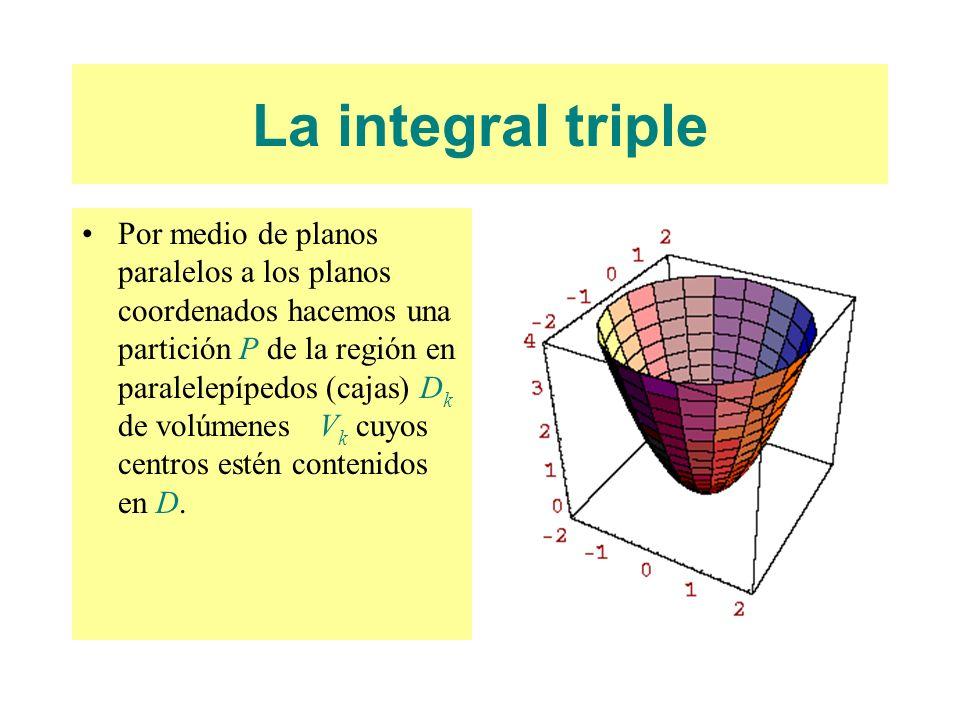 La integral triple Por medio de planos paralelos a los planos coordenados hacemos una partición P de la región en paralelepípedos (cajas) D k de volúm