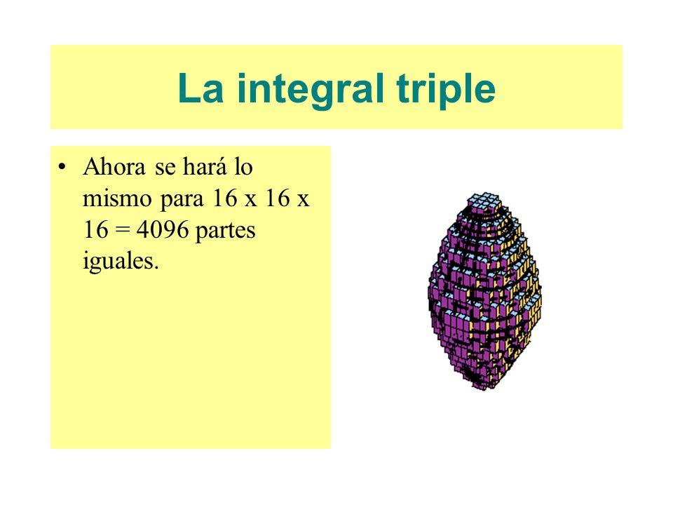 La integral triple Ahora se hará lo mismo para 16 x 16 x 16 = 4096 partes iguales.