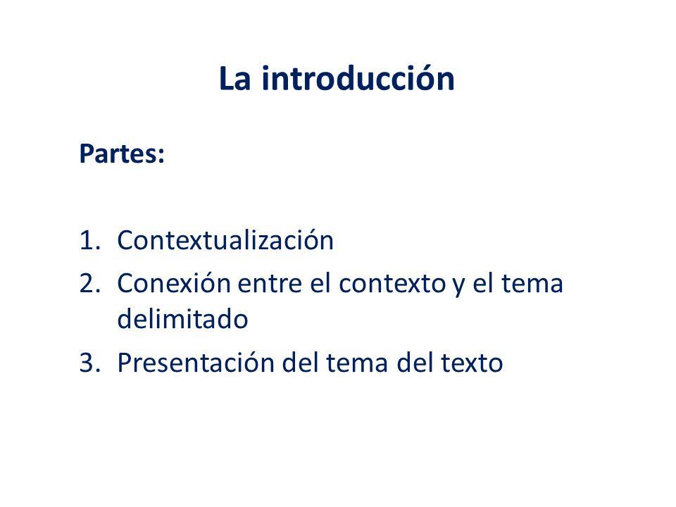 Partes: 1.Contextualización 2.Conexión entre el contexto y el tema delimitado 3.Presentación del tema del texto La introducción