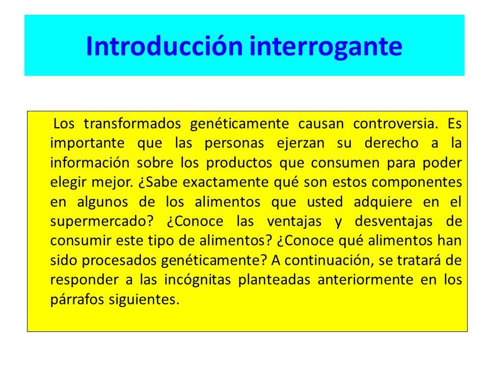 Introducción interrogante Los transformados genéticamente causan controversia.