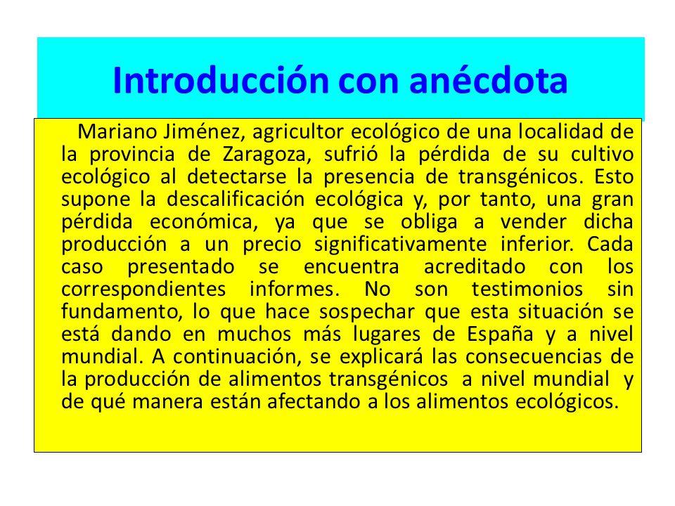 Introducción con anécdota Mariano Jiménez, agricultor ecológico de una localidad de la provincia de Zaragoza, sufrió la pérdida de su cultivo ecológico al detectarse la presencia de transgénicos.