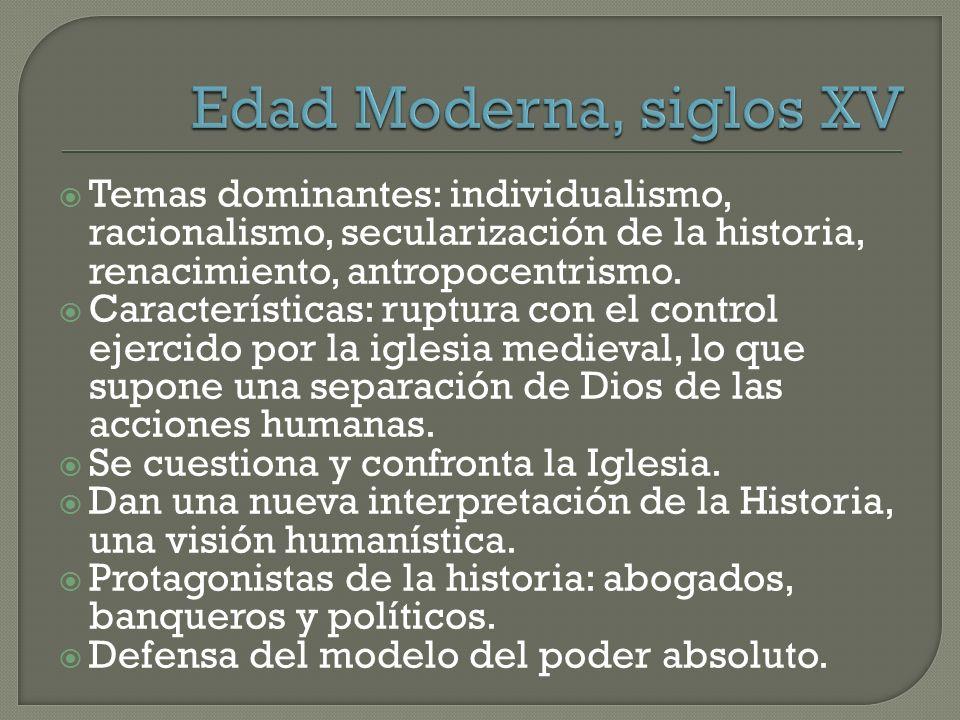 Temas dominantes: individualismo, racionalismo, secularización de la historia, renacimiento, antropocentrismo. Características: ruptura con el control
