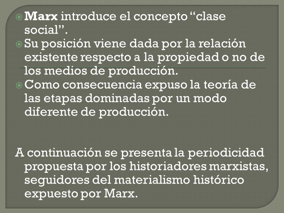 Marx introduce el concepto clase social. Su posición viene dada por la relación existente respecto a la propiedad o no de los medios de producción. Co