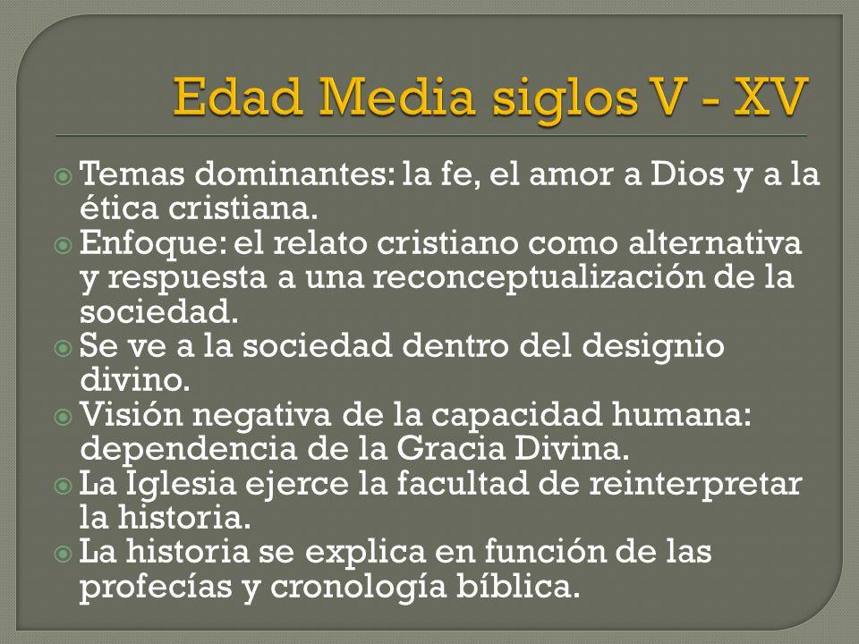 Temas dominantes: la fe, el amor a Dios y a la ética cristiana. Enfoque: el relato cristiano como alternativa y respuesta a una reconceptualización de