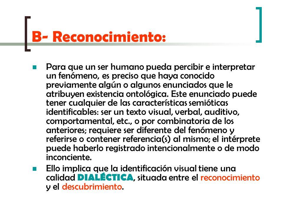 B- Reconocimiento: Para que un ser humano pueda percibir e interpretar un fenómeno, es preciso que haya conocido previamente algún o algunos enunciado