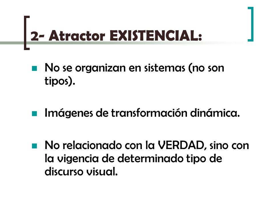 2- Atractor EXISTENCIAL: No se organizan en sistemas (no son tipos). Imágenes de transformación dinámica. No relacionado con la VERDAD, sino con la vi