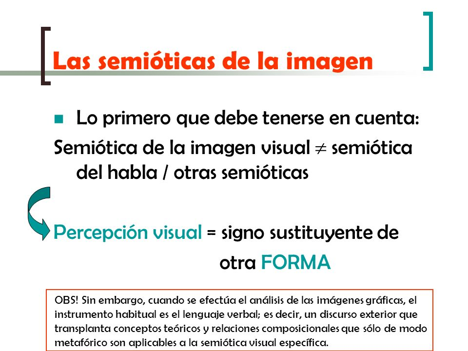 Las semióticas de la imagen Lo primero que debe tenerse en cuenta: Semiótica de la imagen visual semiótica del habla / otras semióticas Percepción vis