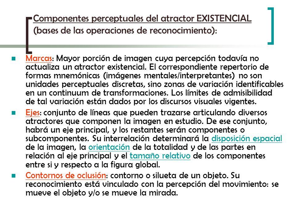 Componentes perceptuales del atractor EXISTENCIAL (bases de las operaciones de reconocimiento): Marcas: Mayor porción de imagen cuya percepción todaví