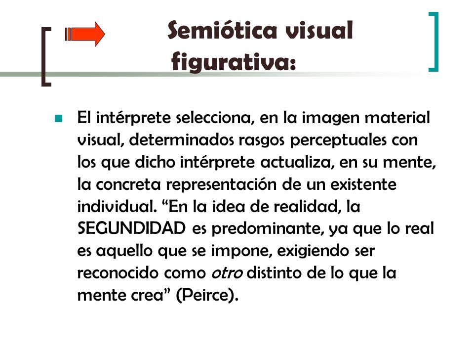 Semiótica visual figurativa: El intérprete selecciona, en la imagen material visual, determinados rasgos perceptuales con los que dicho intérprete act