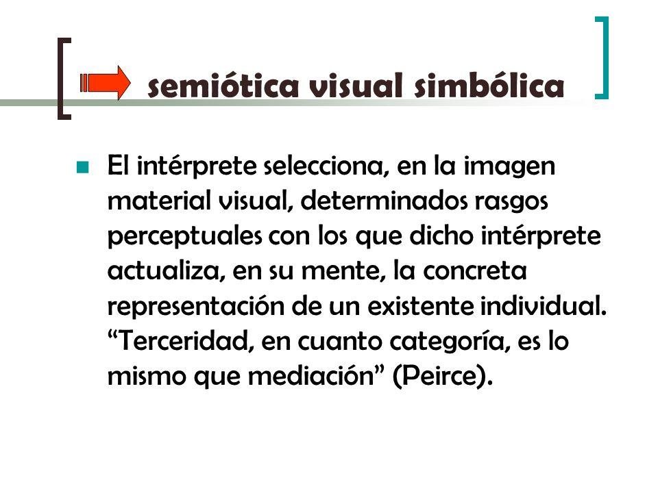 semiótica visual simbólica El intérprete selecciona, en la imagen material visual, determinados rasgos perceptuales con los que dicho intérprete actua