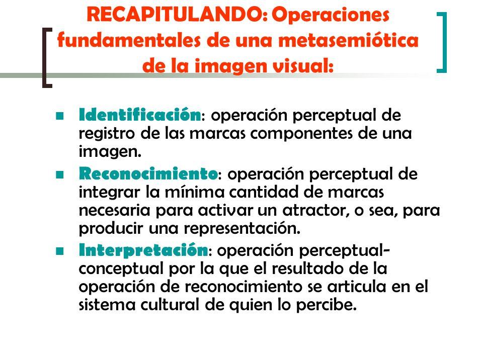 RECAPITULANDO: Operaciones fundamentales de una metasemiótica de la imagen visual: Identificación : operación perceptual de registro de las marcas com