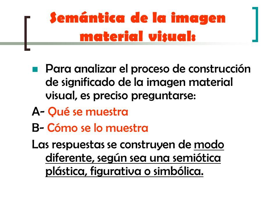 Semántica de la imagen material visual: Para analizar el proceso de construcción de significado de la imagen material visual, es preciso preguntarse: