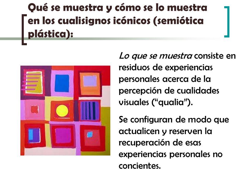 Qué se muestra y cómo se lo muestra en los cualisignos icónicos (semiótica plástica): Lo que se muestra consiste en residuos de experiencias personale