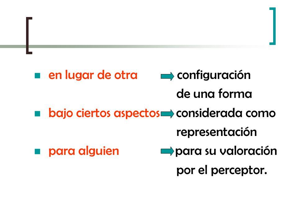 en lugar de otra configuración de una forma bajo ciertos aspectos considerada como representación para alguien para su valoración por el perceptor.