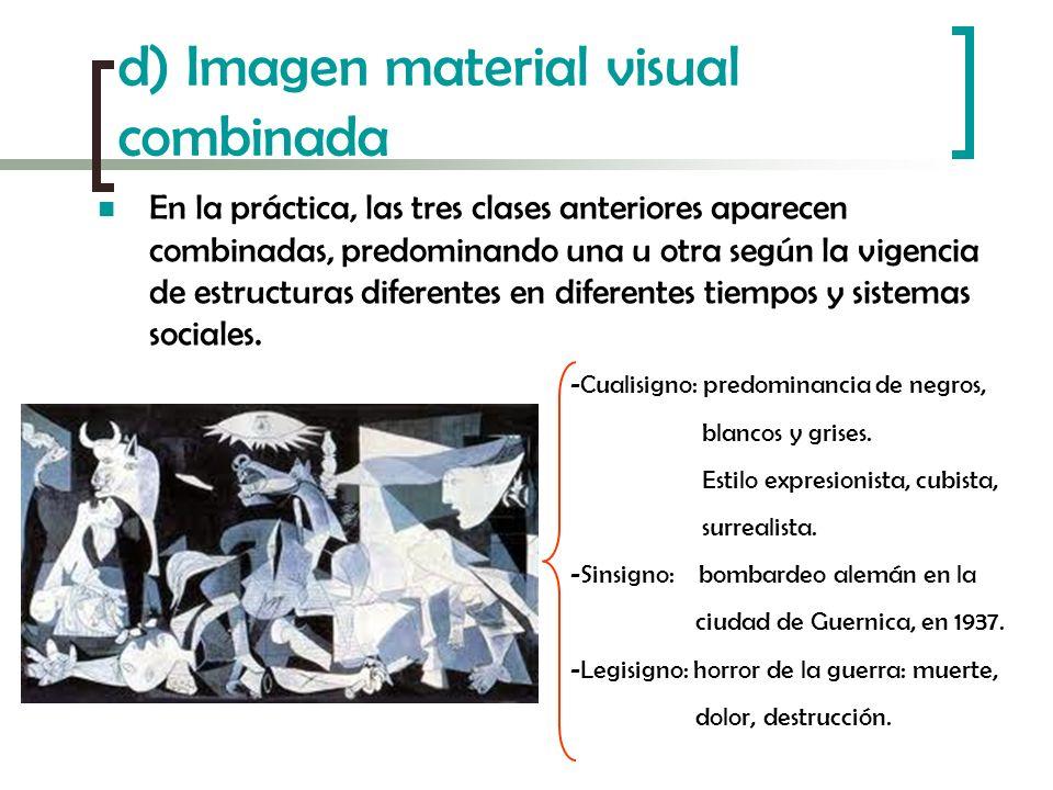 d) Imagen material visual combinada En la práctica, las tres clases anteriores aparecen combinadas, predominando una u otra según la vigencia de estru