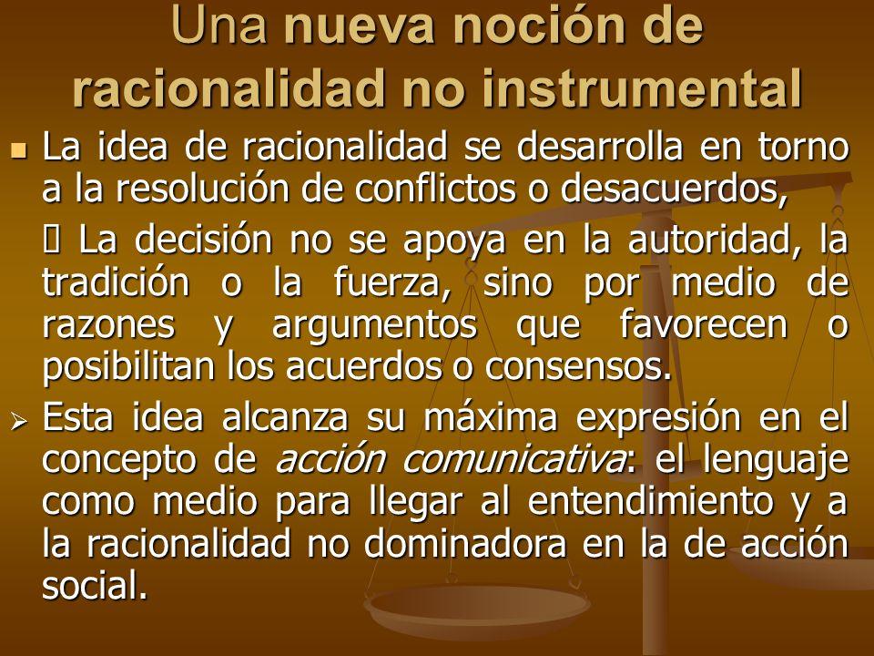 Una nueva noción de racionalidad no instrumental La idea de racionalidad se desarrolla en torno a la resolución de conflictos o desacuerdos, La idea d