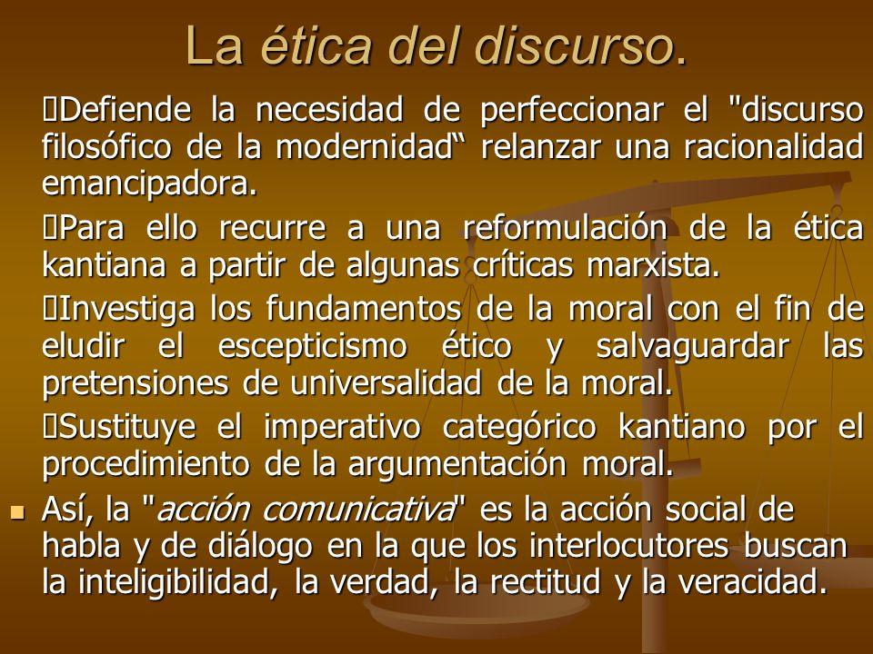 La ética del discurso. Defiende la necesidad de perfeccionar el
